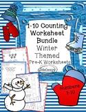 Counting 1-10 PreK Worksheet Bundle - Winter Themed