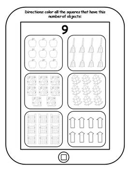 Counting 1-10 Printable Tablets