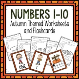 Counting 1-10 Worksheets and Flashcards Autumn Themed