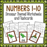 Counting 1-10 Worksheets and Flashcards Dinosaur Themed