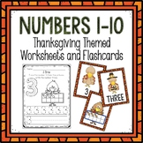 Counting 1-10 Worksheets and Flashcards Thanksgiving Themed