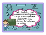 Counting 1-10 differentiated,assessment based math kindergarten CCSS