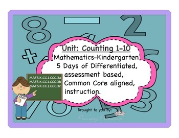 Counting 1-10 differentiated,assessment based math kinderg