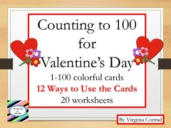Counting 1-100 Center and Worksheets--Valentine's Day Theme