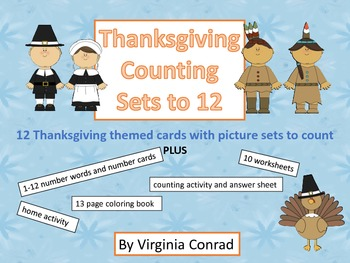 Counting 1-12--group activities, center job, worksheets, and more--Thanksgiving