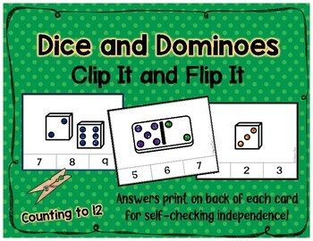Counting 0-12 with Dominoes and Dice - Clip Cards