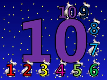 Counting 1 - 20 Activity with Flying Unicorns in the Night Sky