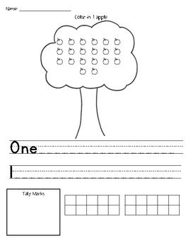 Counting 1-20 Apples Unit