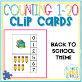 Counting 1-20 Clip Cards Back to School - Special Education
