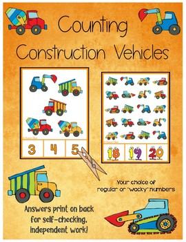 Counting 1-20 Clip Cards - Construction Theme