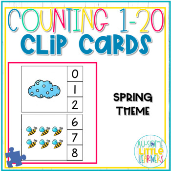 Counting 1-20 Clip Cards Spring - Special Education