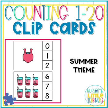 Counting 1-20 Clip Cards Summer - Special Education