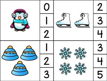 Counting 1-20 Clip Cards Winter - Special Education