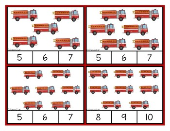 Counting 1-20:  Clip Cards for Independent Practice - Fire Trucks