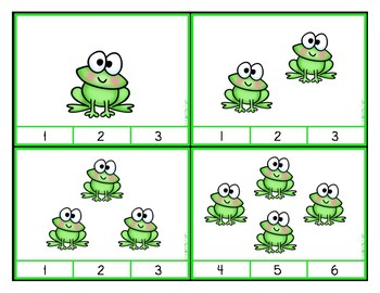 Counting 1-20:  Clip Cards for Independent Practice - Frogs