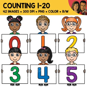 Counting 1-20 Number Kids Clipart
