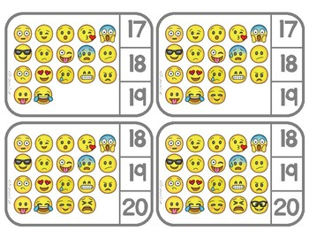 Counting 1-20:  Emoji - Clip Cards for Independent Practice