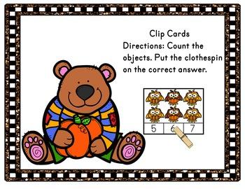 Fall Activities * Fall Math Activities Counting 1-20  * Fall Clip Card Center
