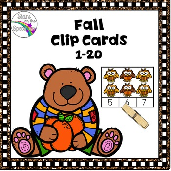 Fall Math Activities Counting Clip Cards 1-20
