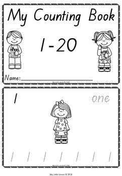 Counting 1-20 Mini Book QLD Beginners Font: Numbers 1-20, Worksheets