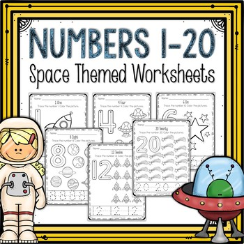 Counting 1-20 Worksheets Space Themed