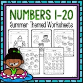 Counting 1-20 Worksheets Summer Themed