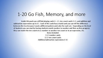 1-20 Go Fish and Memory games