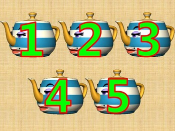 Counting 1 - 5 with Blinking Tea Pots