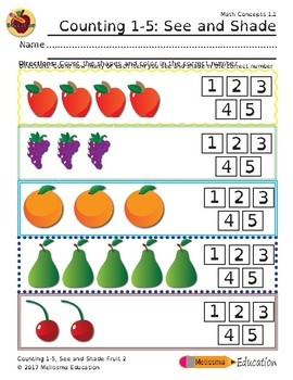 Counting 1-5: See and Shade Practice Sheet Set, Fruit