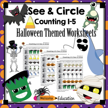 Counting 1-5: See and Circle Practice Set, Halloween!