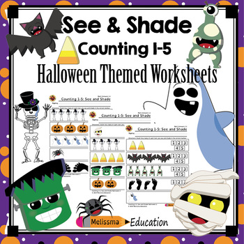 Counting 1-5: See and Shade Practice Sheet Set, Halloween