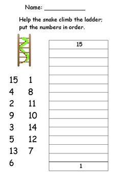 Counting 1 to 15 Snake Number Ladder