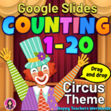 Counting 1 to 20 Circus Theme NO PREP Google Slides Activities