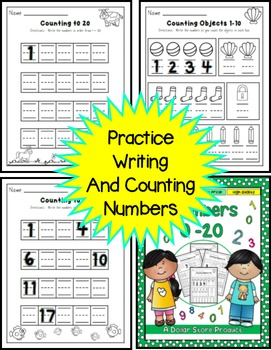 Counting 1 to 20 Practice Pack for Kinders