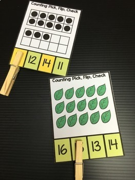 Counting 10-20 Clip Cards: Numbers 10-20 Ten Frames and Objects