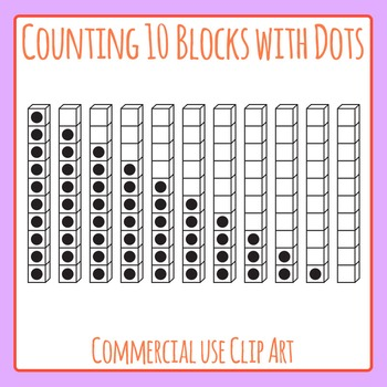 Counting 10 Math Blocks with Dots Clip Art for Commercial Use