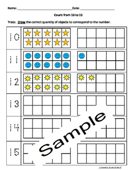 Counting 11-15 Activities worksheets Engl and Spanish Cscope Common Core