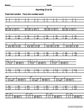 Counting 11-15 Activities worksheets Engl and Spanish