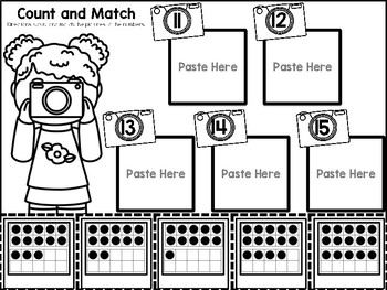 Counting 11-20 Color, Cut, and Paste Math Journal for Special Education