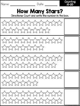 Counting 16-20 Workbook