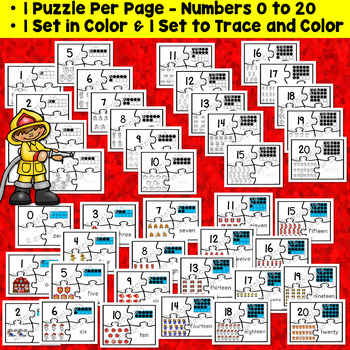 Fire Safety Activities : Number Sense 0-20 - Firefighter Number Puzzles
