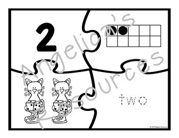 Number Sense 0-20 : Number Puzzles -Fairy Tale, Firefighter, & Cats