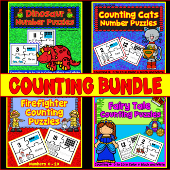 Counting and Cardinality Puzzles Bundle: Fairy Tale, Firef