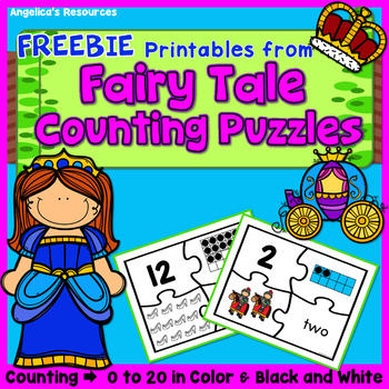 FREEBIE Number Sense 0-20 : Fairy Tale Counting Puzzles