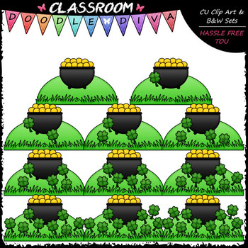 (0-10) Counting 4 Leaf Clovers - Sequence, Counting & Math Clip Art & B&W Set