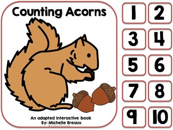 Counting Acorns-An Adapted Fall Counting Book {Autism, SPE