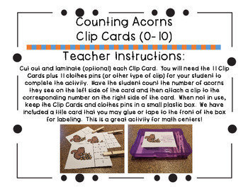 Counting Acorns Clip Cards (0-10)