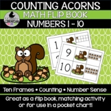 Counting Acorns Fall Math Squirrels Flip Book Numbers 1-10 Center Pocket Chart