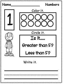 Counting Activities: Numbers 1-10