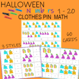 Halloween Counting Activity Clip Cards  1 - 20